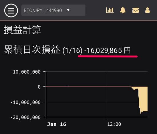 仮想通貨で-1600万円の損失!